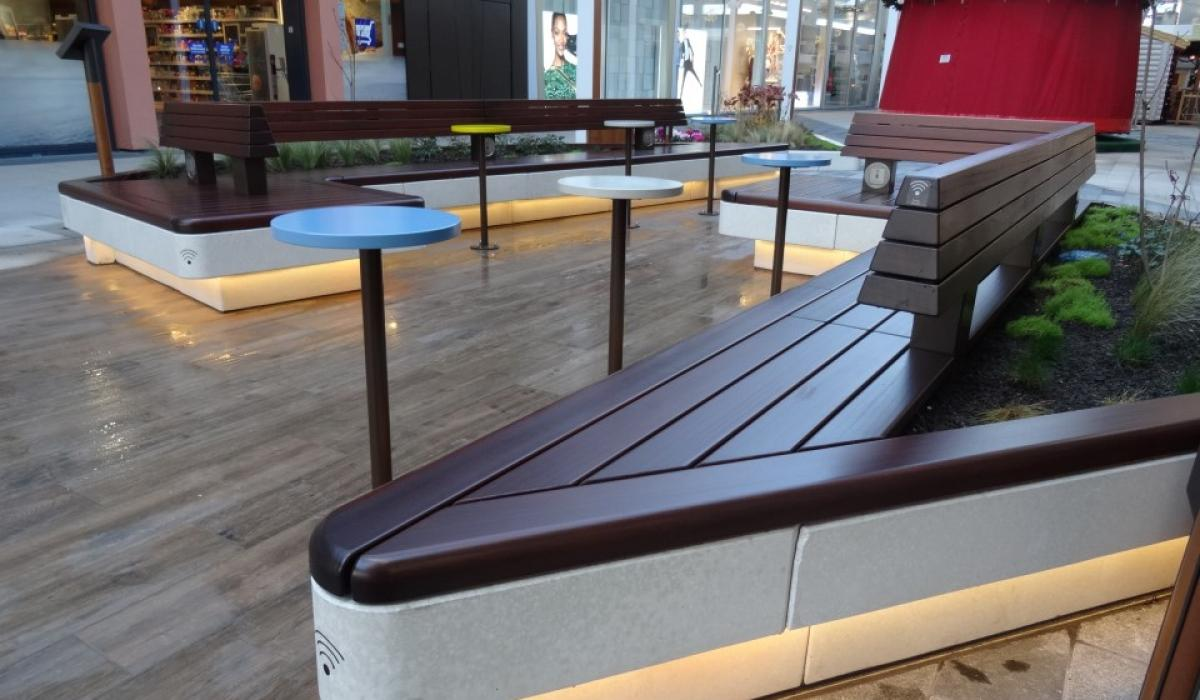 Custom concrete bench for Ruhr Park shopping center Bochum