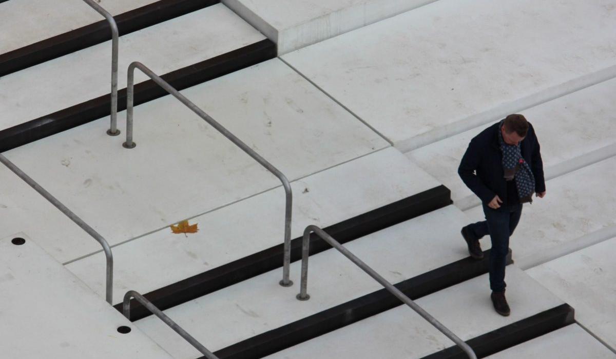 KOS Urban Art Museum plaza, going down the stairs