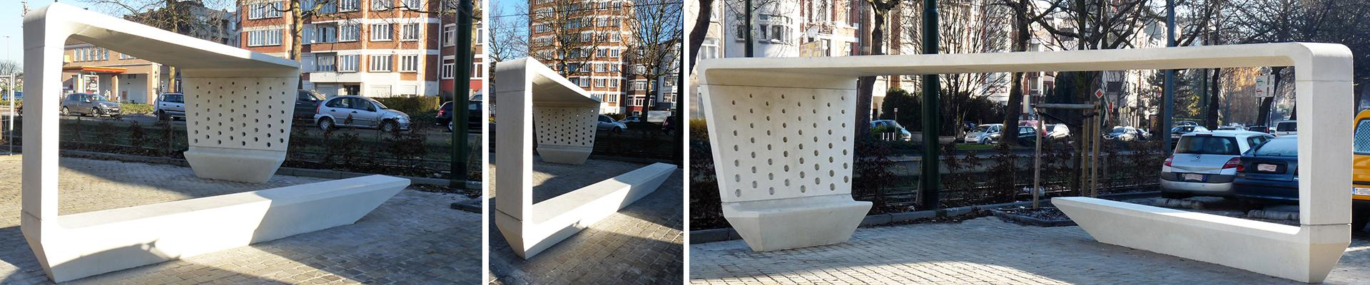 Covered concrete bench, Schaerbeek, Brussels