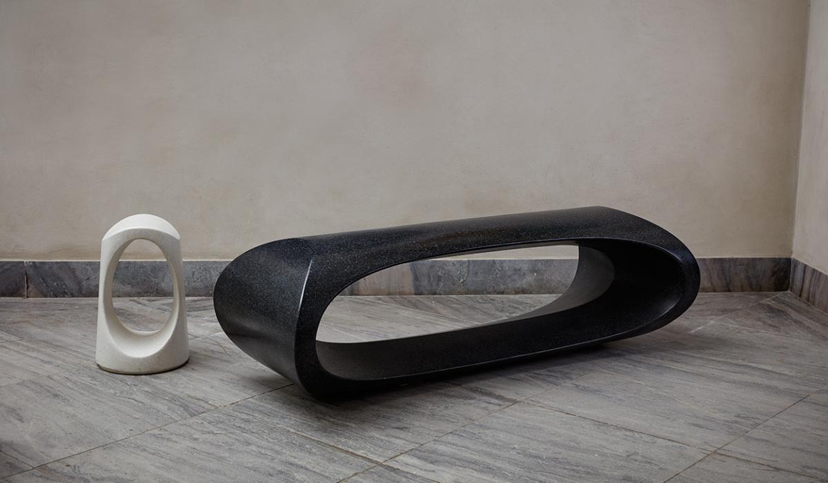 Bench Roma and bollard at Danish Design Museum