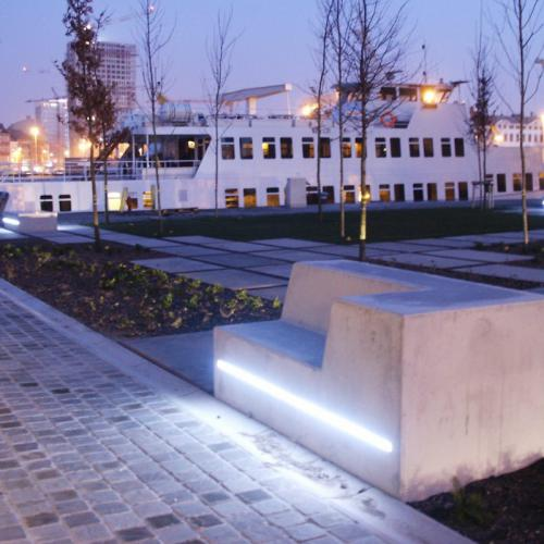 LED benches and slabs, Kattendijkdok, Anvers