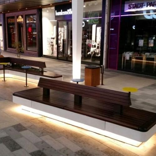 Custom concrete bench with LED for Ruhr Park shopping center Bochum