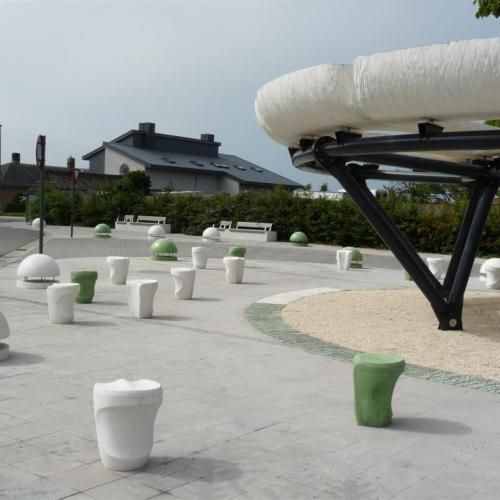Panorama seat K-02, custom bollards, benches, roof, elephant skin texture