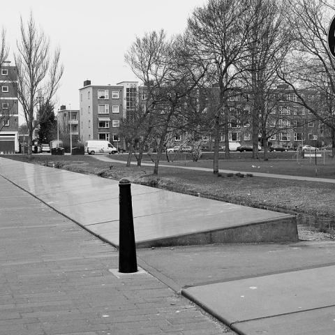 Sloped pavement