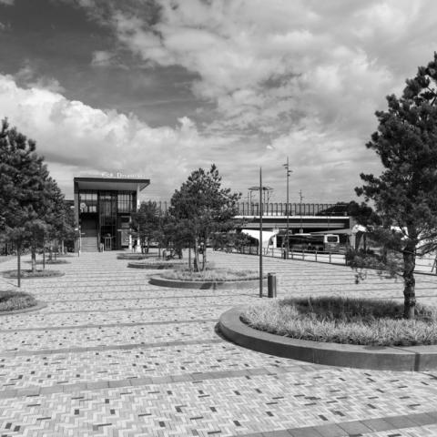Railway station plaza